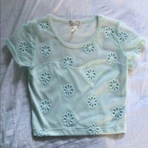 mint floral mesh top